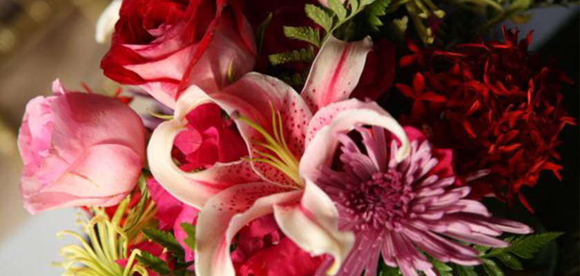Stargazer Lily with purple spider mum