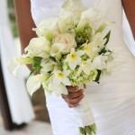 white frangipani (plumeria), cala lilies & roses