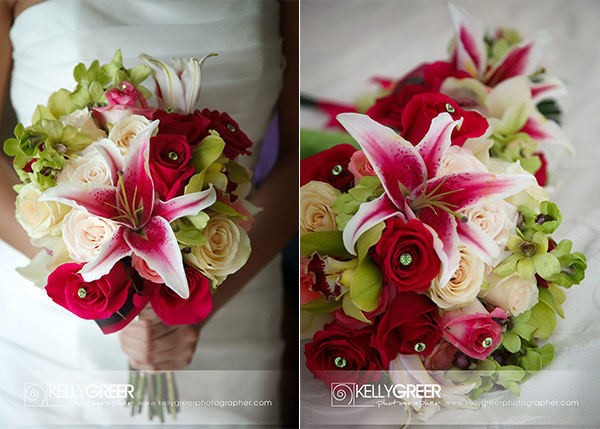 Red, Green & Pink Wedding Bouquet