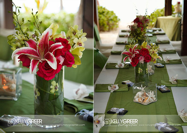 Red, Green & Pink Reception Centerpieces