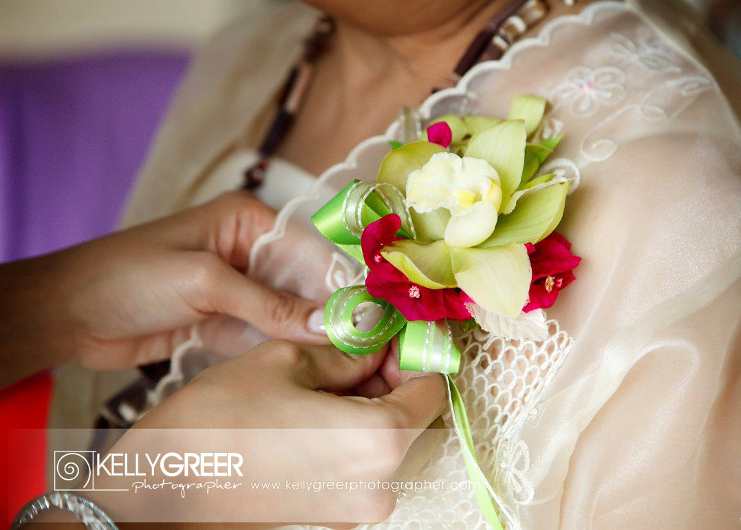 Rovira Green & Red Orchid Corsage