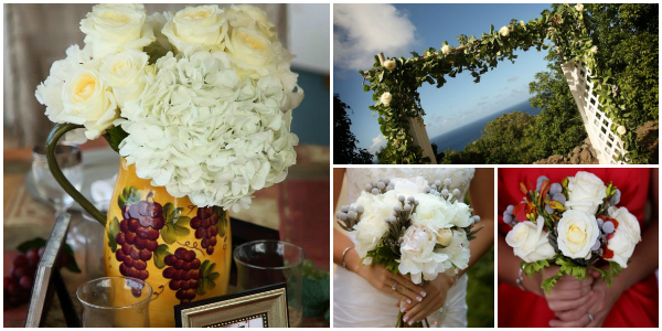 White Hydrangea and Roses St Croix Wedding Flowers by AntillesLilies.com images by www.kellygreerphotographer.com