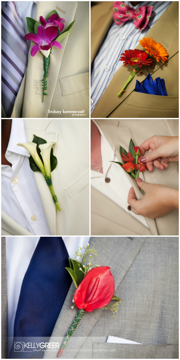 beach wedding boutonieres